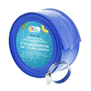 "U.S. Pool Supply 2"" x 50' Heavy Duty Blue PVC Swimming Pool Backwash Hose with Hose Clamp"