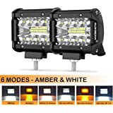 Auxbeam 4 Inch LED Pods 60W Spot LED Pod Light Bar 6000lm Driving Light Triple Row Off Road Lights with Six Modes for…