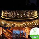 Fairy string Curtain lights 33ftx3ft 480 Leds Wall Icicle lights, 9 modes Linkable Window fairy Christmas lights,UL certificated lights for Home,Party, Outdoor, Wedding Backdrops(Warm White)