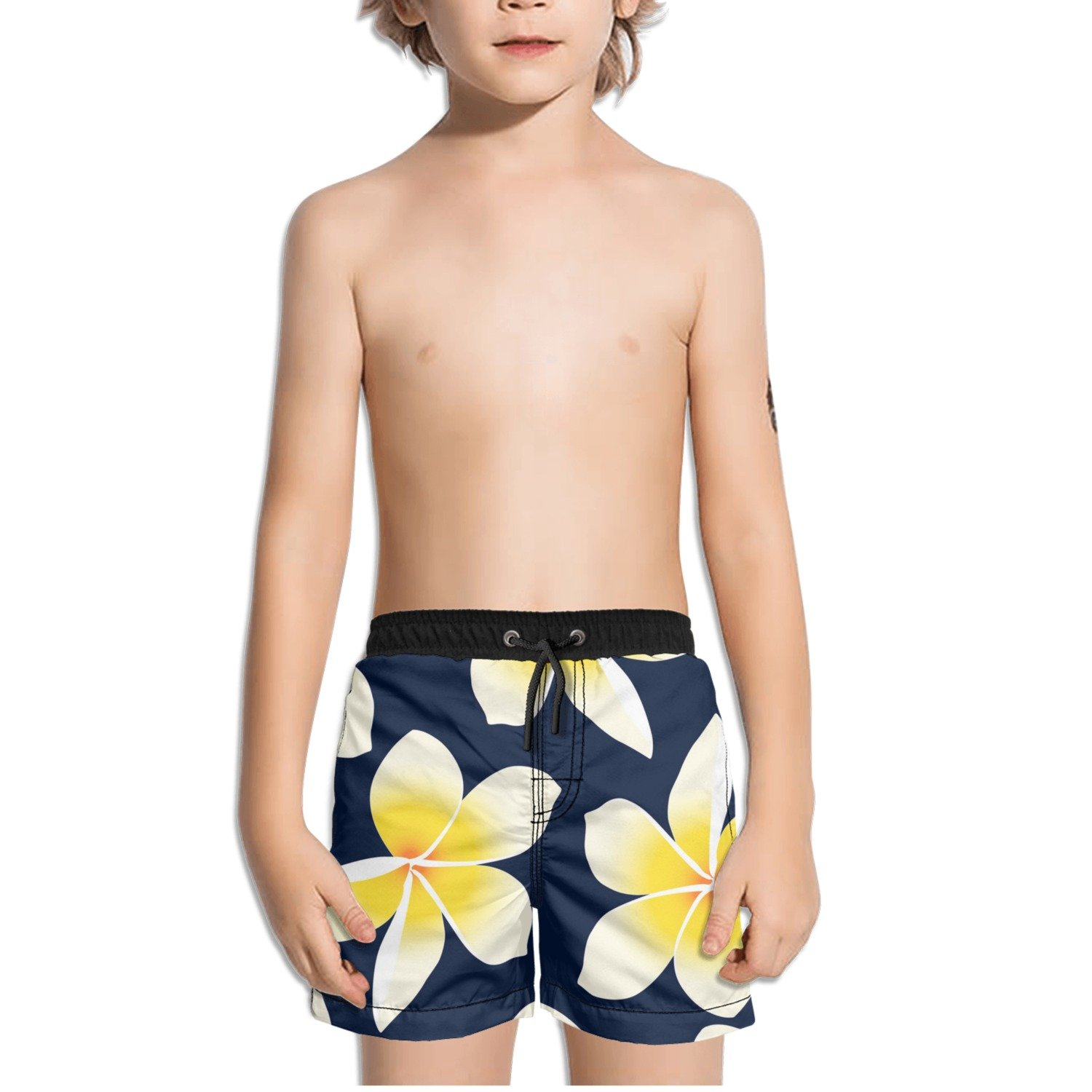 Ouxioaz Boys' Swim Trunk Yellow Flower Tropical Floral Beach Board Shorts