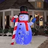 CHRISTMAS DECORATION LAWN YARD GARDEN INFLATABLE AIRBLOWN PROJECTION KALEIDOSCOPE SNOWMAN WITH CANDYCANE 10' TALL