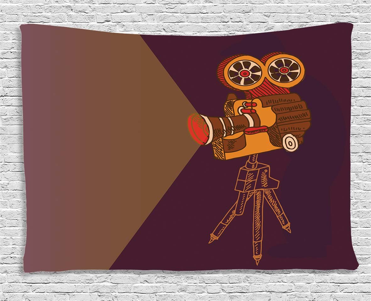 Ambesonne Vintage Decor Tapestry by, Classic Movie Theater Machine with Cinema Fest Typography Past Filmmaker, Wall Hanging for Bedroom Living Room Dorm, 60WX40L Inches, Brown Purple