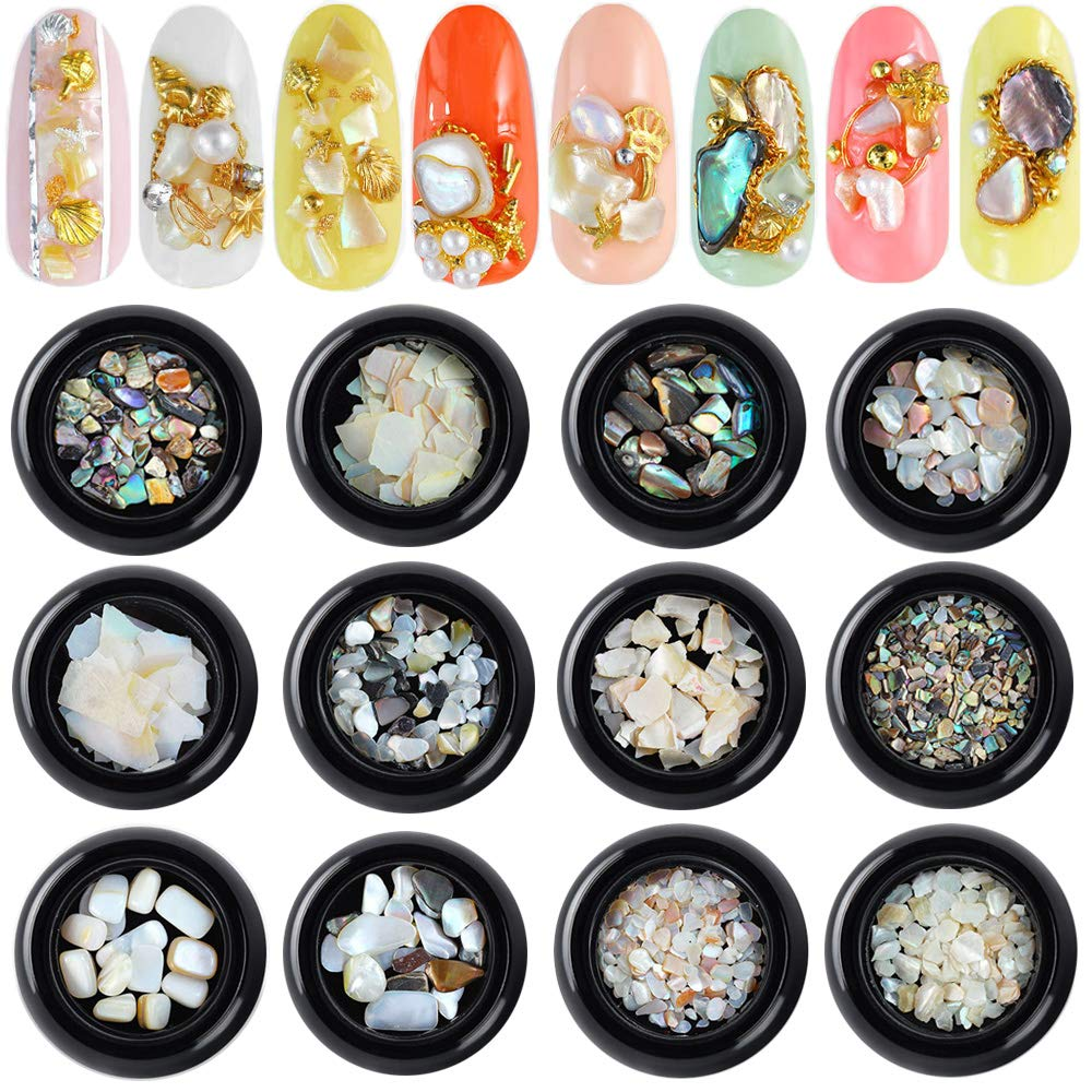 12 Boxes Nail Art Crushed Shell Seashell Set, Tingbeauty Nail Art Natural Abalone Shell Nail Decals 3D Nail Art Decoration Kit for 3D Manicures Beauty Salon Nail Decals Tools by Tingbeauty