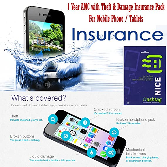 Hashtag AMC with Theft and Damage Insurance - (Screen, Battery Spoil, Water  Logging) for Mobile Phone and Tablets