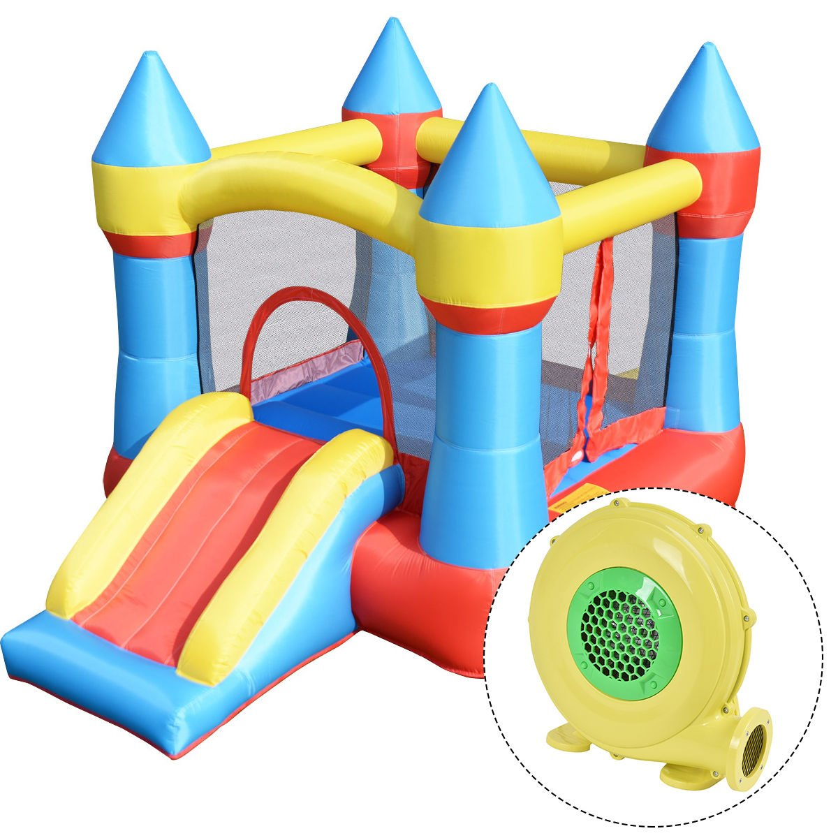 Costzon Inflatable Bouncer Moonwalk Slide Bounce House Jumper Kids Play Center with 480W Blower