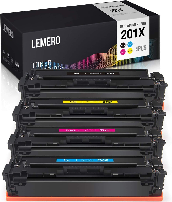 LEMERO Compatible Toner Cartridge Replacement for HP 201X 201A CF400X CF401X CF402X CF403X CF400A use with Color Laserjet Pro MFP M277dw M252dw M277n M252n M277c6 (Black Cyan Magenta Yellow, 4-Pack)