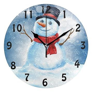 DOSHINE Wanduhr, Weihnachtlicher Schneemann, Leise, Nicht Tickende Uhr,  Schlafzimmer, Wohnzimmer,