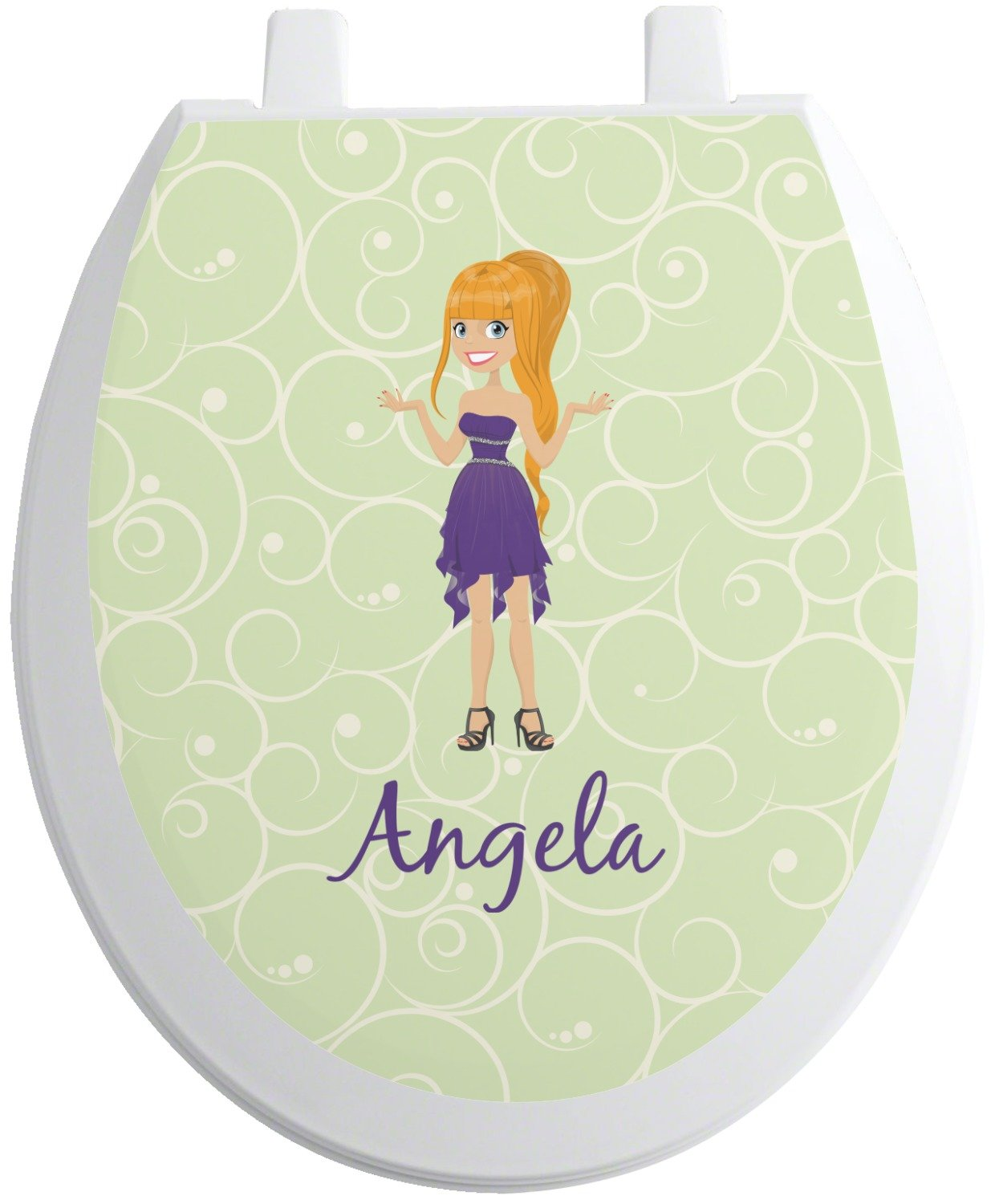 RNK Shops Custom Character (Woman) Toilet Seat Decal - Round (Personalized)