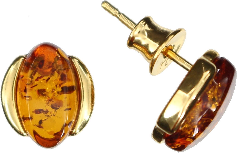 Pendientes Ámbar de Arti Sana–Natural, ovalada pendientes pequeños 925/000Plata de ley dorado