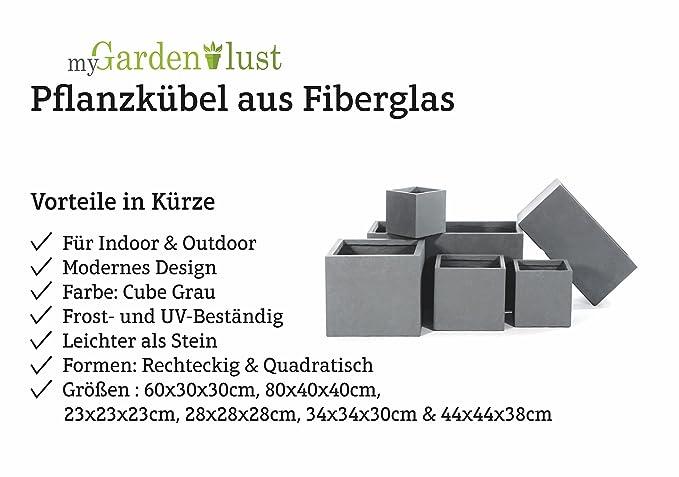 myGardenlust Blumentopf in Grau - Pflanzkübel aus Fiberglas ...