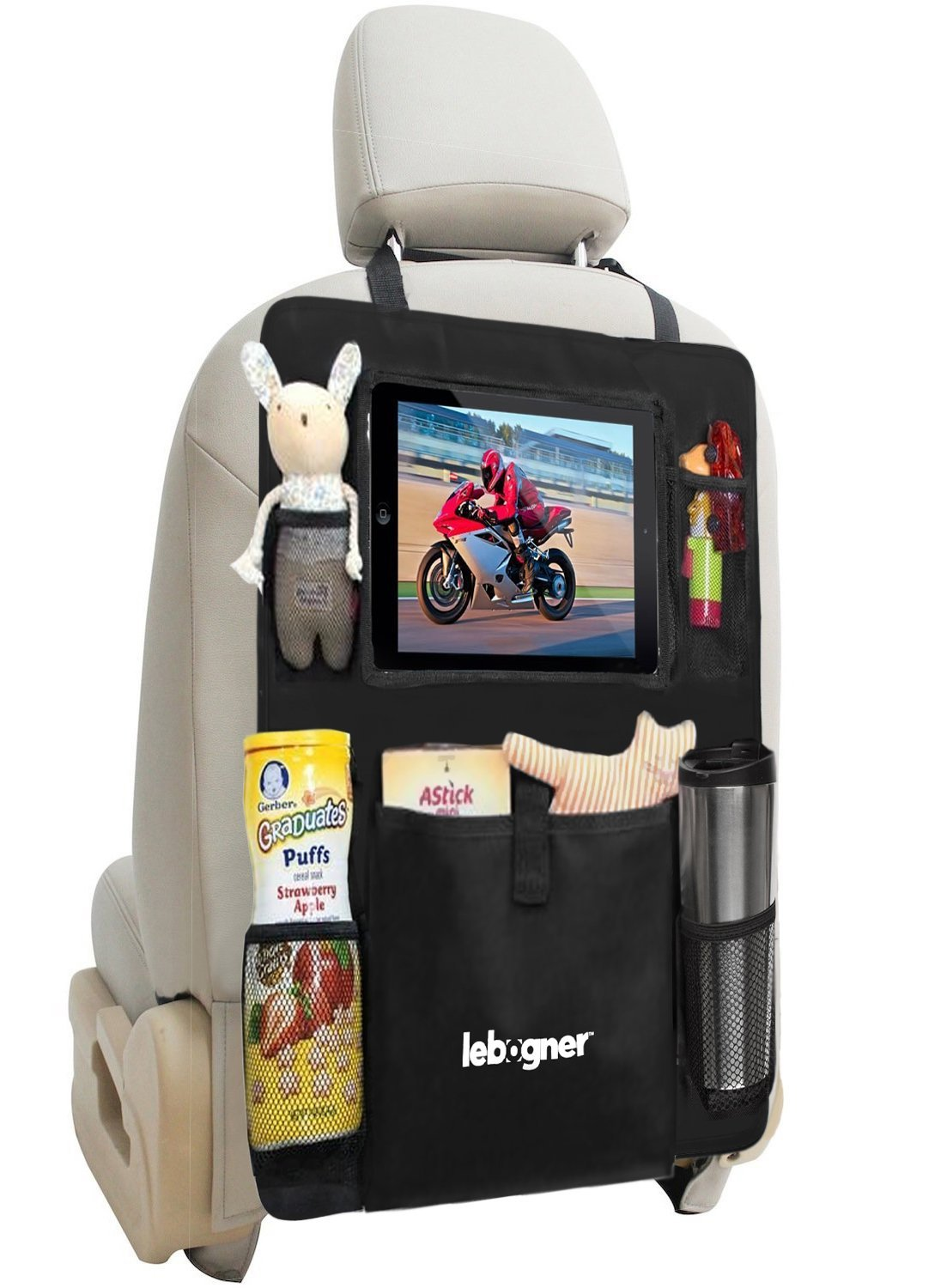 Backseat Organizer + iPad and Tablet Holder By Lebogner, X-Large Multifunctional 5 Pocket Storage Car Seat Back Organizer and Kick Mat Protectors, To Organize All Baby, Kids Travel Accessories LOR-A-1018