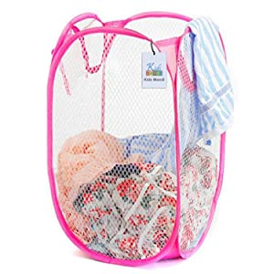 5 PCS Foldable Pop Up Laundry Bag Basket (fine mesh-random color)