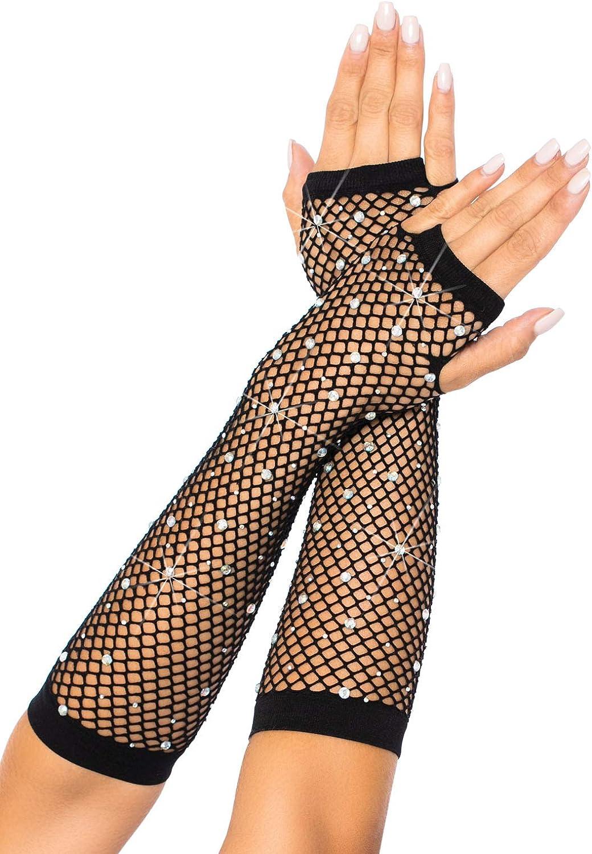 Leg Avenue Women's Fishnet Arm Warmers, Black Rhinestone, O/S: Leg Avenue: Clothing