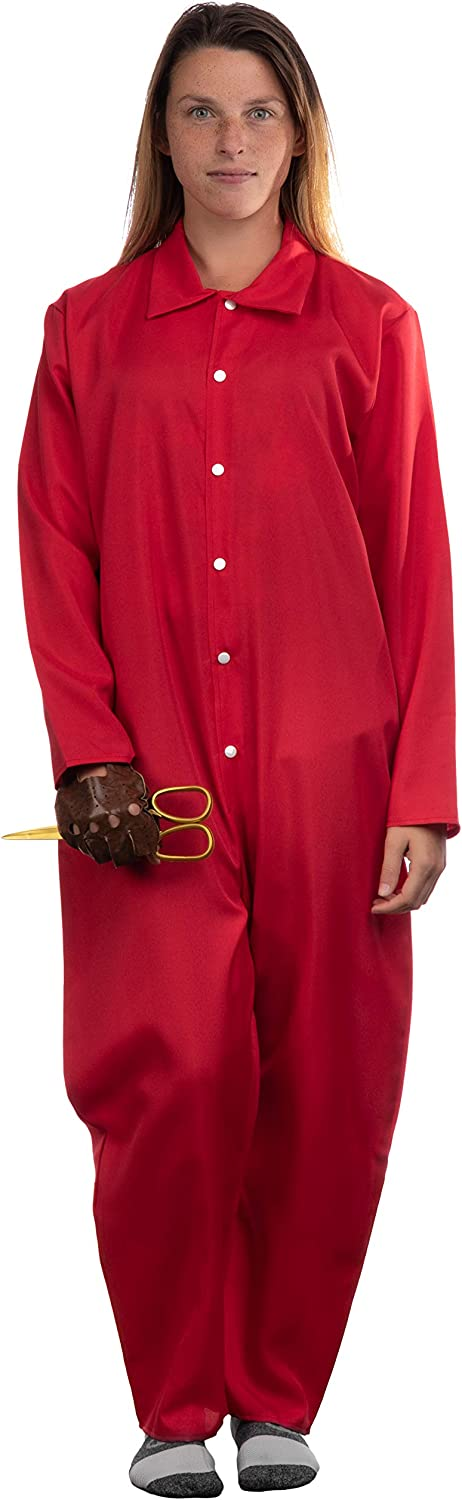 Foam Gold Scissors Glove Red Jumpsuit Halloween Horror Movie Jump Suit Cosplay Costume