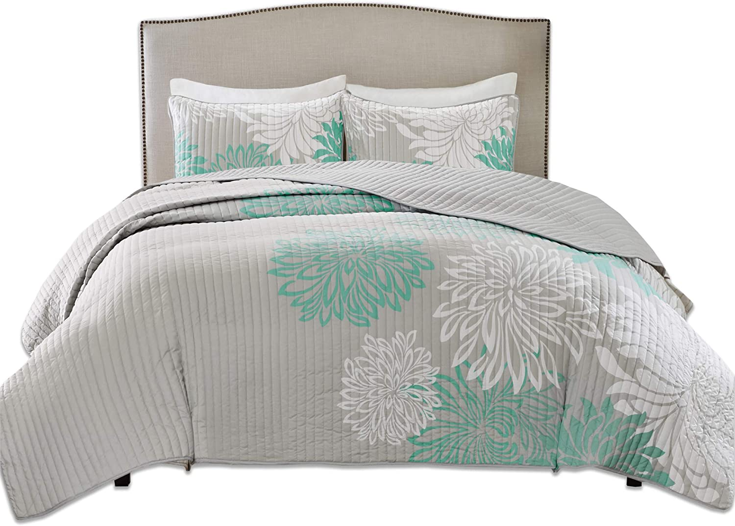 Comfort Spaces Enya 3 Piece Quilt Coverlet Bedspread Ultra Soft Floral Printed Pattern Bedding Set, Full/Queen, Aqua-Grey