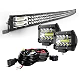 "TURBO SII 42"" Curved LED Light Bar Triple Row 576W Flood Spot Combo Beam Led Bar W/ 2Pcs 4in 60W Off Road Driving Fog Lights"