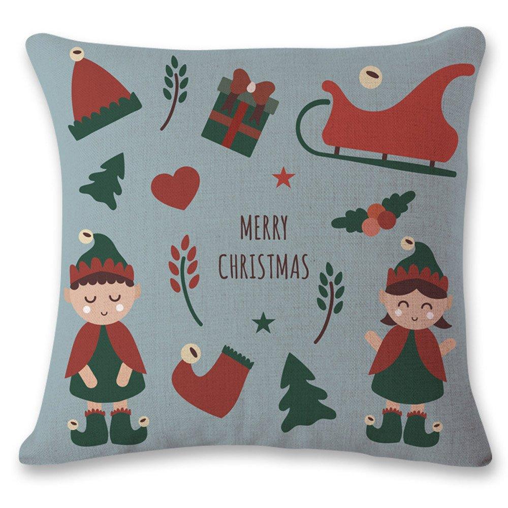 Funda de Almohada de la decoración del hogar sofá Cama de Navidad de la Vendimia Funda de cojín Fundas de Almohada Decorativas con diseño de Navidad ...