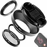 Lumos 49mm Objektiv Zubehör Set für Sony Alpha 6000 mit 16-50 & 55-210 mm   Fernauslöser Metall Gegenlichtblende MC UV Filter Polfilter Step up Ring