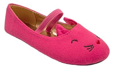 528845600768f1 Simply Petals Girl s Slip on Animal Themed Critter Ballet Flat (Cat