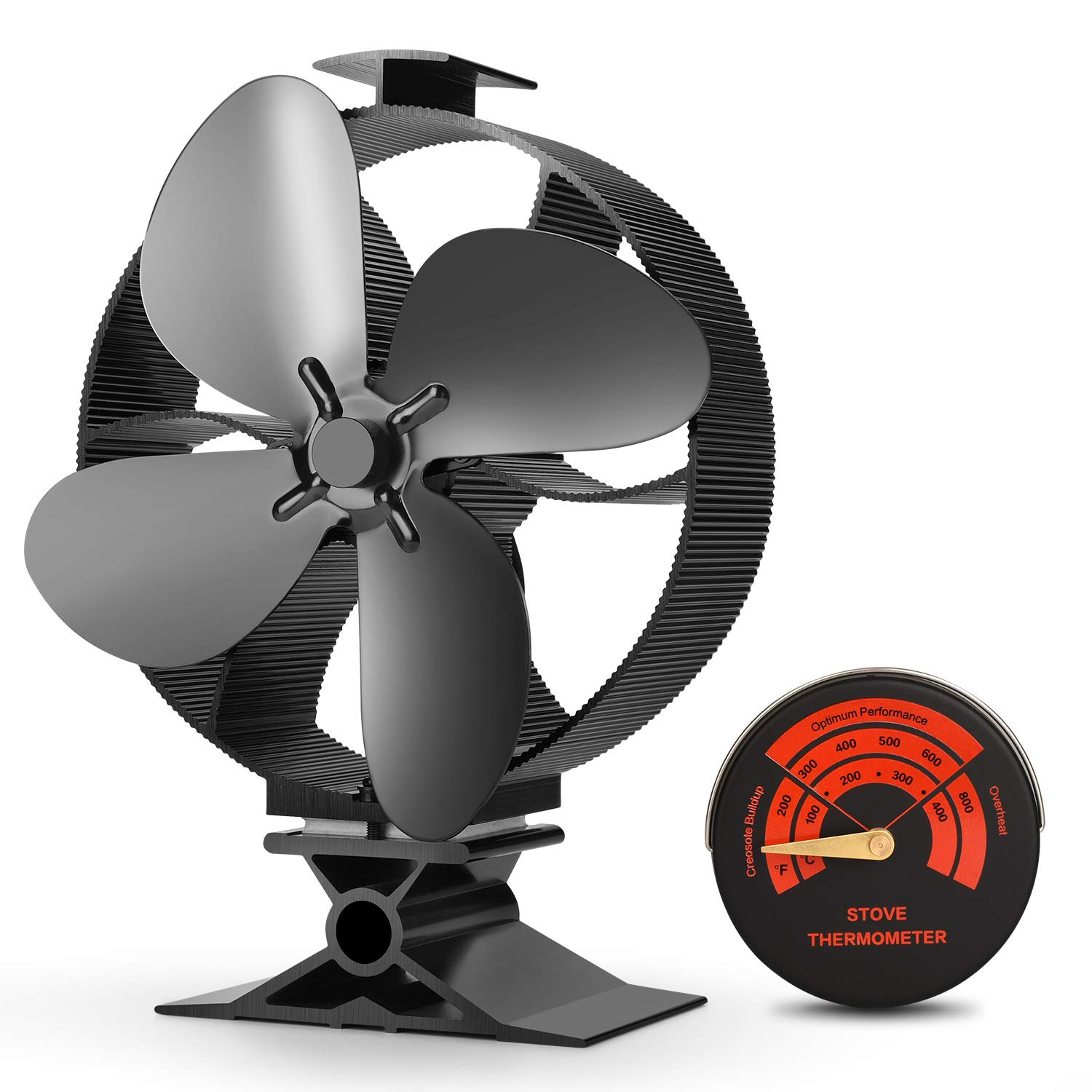 CWLAKON 2019 Upgrade Designed Silent Operation 4-Blades Large Size Heat Powered Stove Fan with Stove Thermometer for Wood/Log Burner/Fireplace,Eco Friendly and Efficient Heat Distribution by CWLAKON