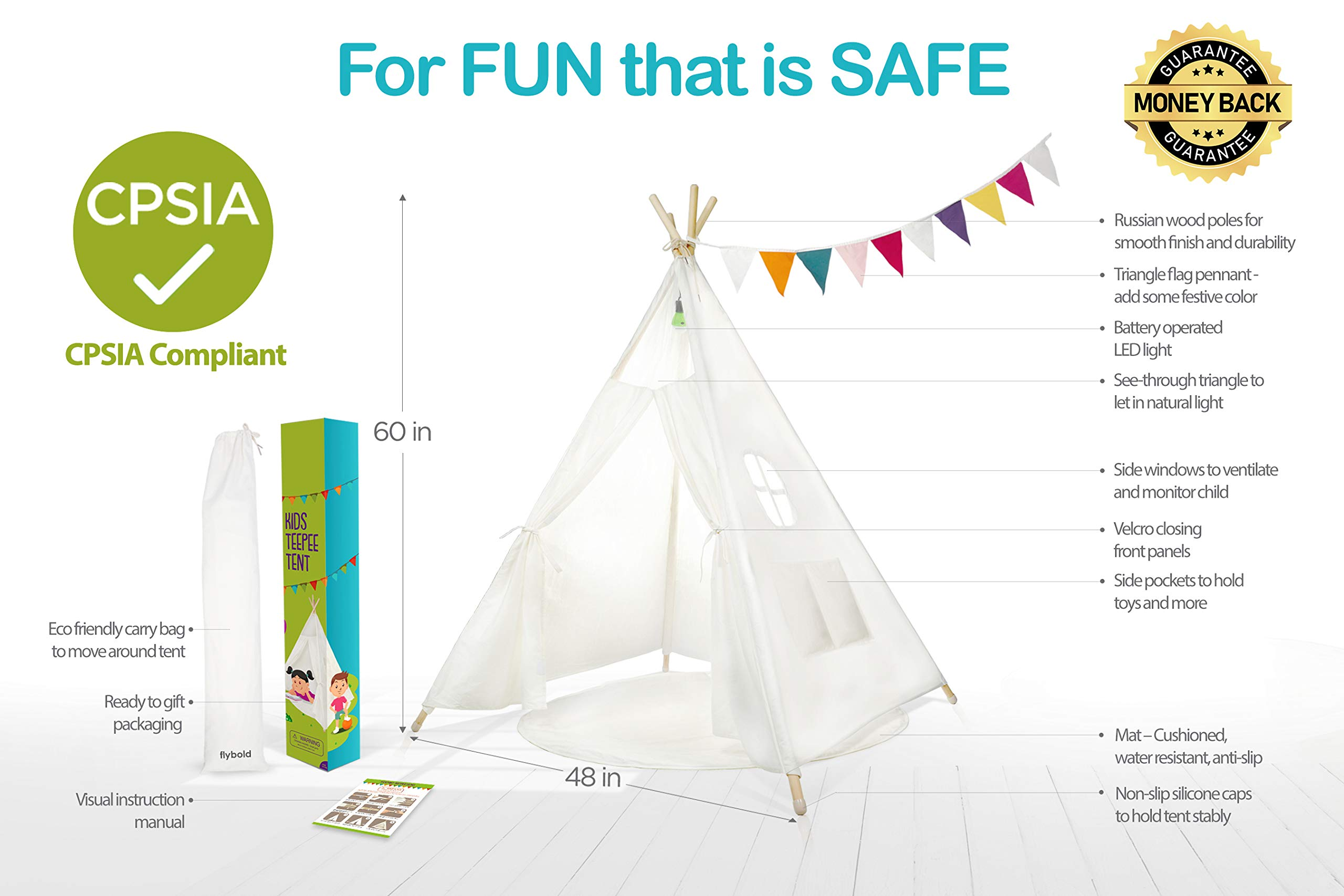 Kids Teepee Tent Children Play Tent 5 ft Raw White Cotton Canvas Four Wooden Poles Thick Cushion Mat LED Light Banner Carry Case Indoor Outdoor Playhouse for Girls and Boys Childrens Room Decor by flybold (Image #2)