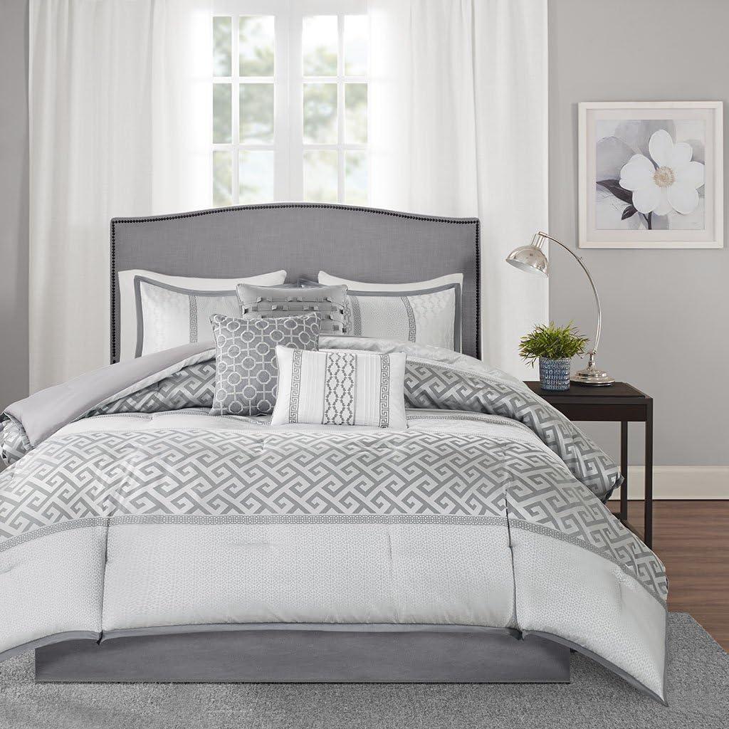 Madison Park Bennett 7 Piece Comforter Set, Grey, Queen