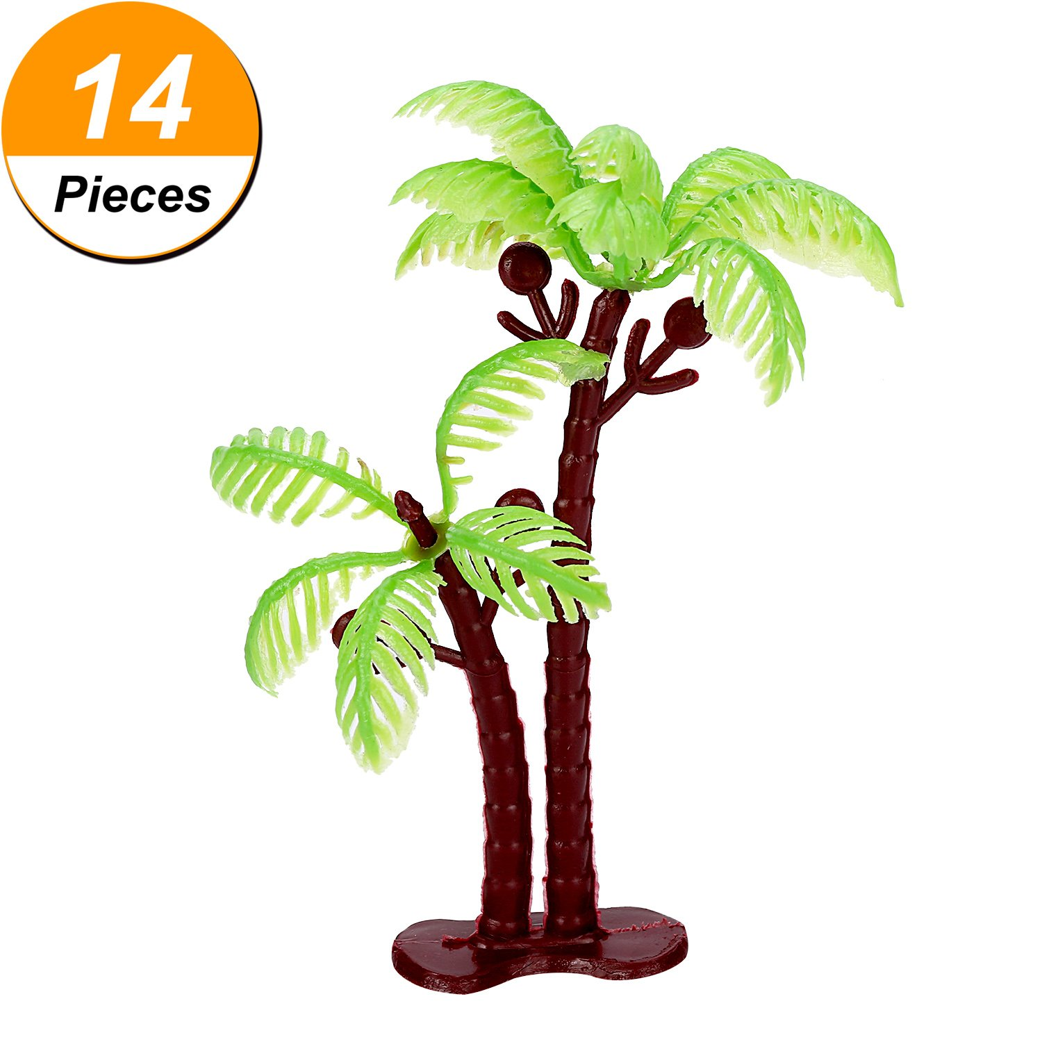 Jovitec 16 Pieces Green Palm Tree Cupcake Topper with Coconuts Cake Topper for Cake Decorations 5.5 Inch and 3.15 Inch