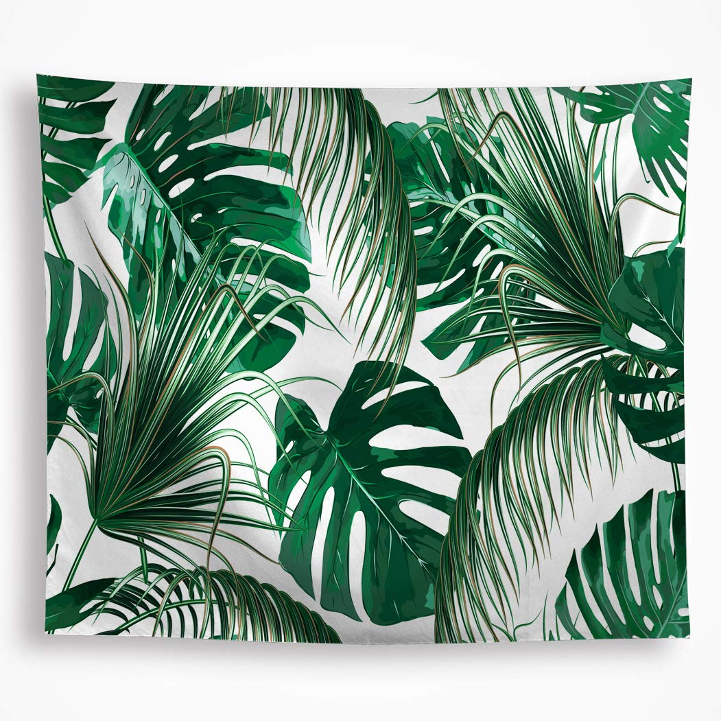 VAKADO Leaf Tapestry Wall Hanging Tropical Palm Tree Leaf Green Banana Leaves Wall Tapestry Living Room Bedroom Dorm Home Decor 59''X82.6''