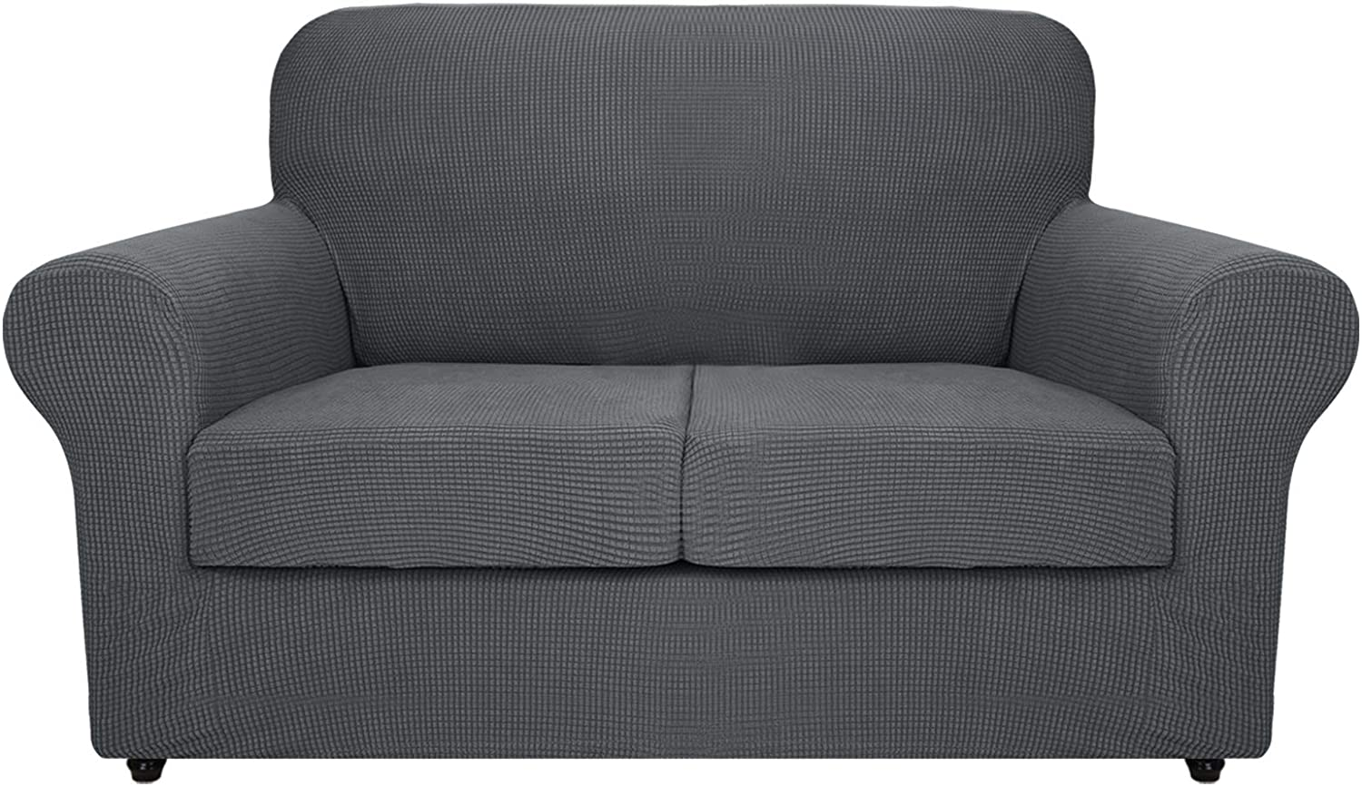 MAXIJIN 3 Piece Couch Covers for 2 Cushion Couch Super Stretch Loveseat Slipcover Dogs Pet Proof Fitted Furniture Protector Spandex Non Slip Sofa Love Seat Cover Washable (Loveseat, Gray)
