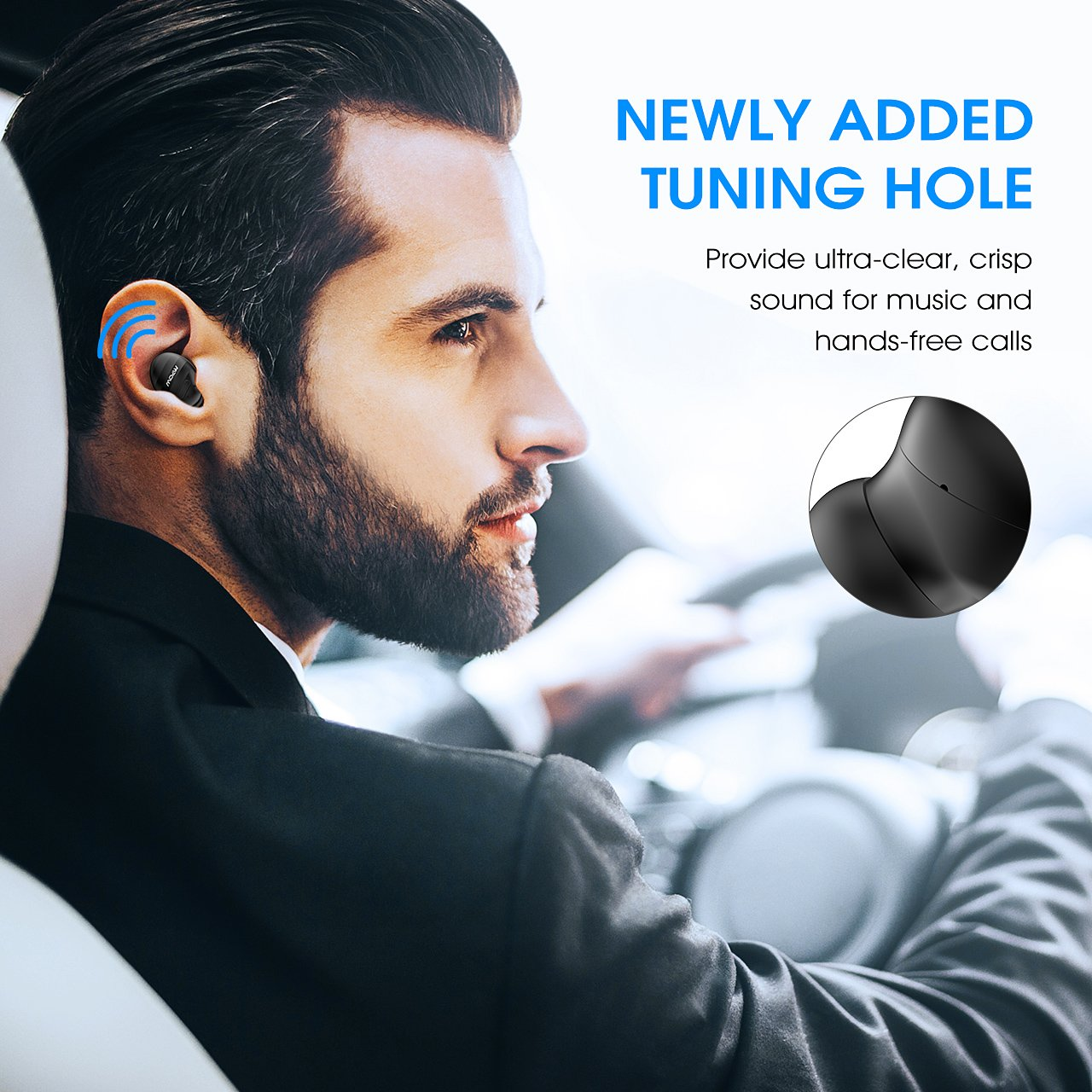 483bad07f3a Mpow EM6 Single Mini Bluetooth Earbud, V4.1 Wireless Earbud with Mic,  Invisible Headphone with 6 Hour Playtime, Car Bluetooth Headset for iPhone  Android ...