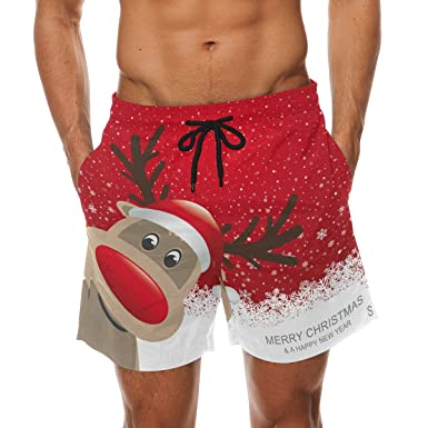 f47e37ffab COOSUN Men's Christmas Reindeer Beach Board Shorts Quick Dry Swim Trunk