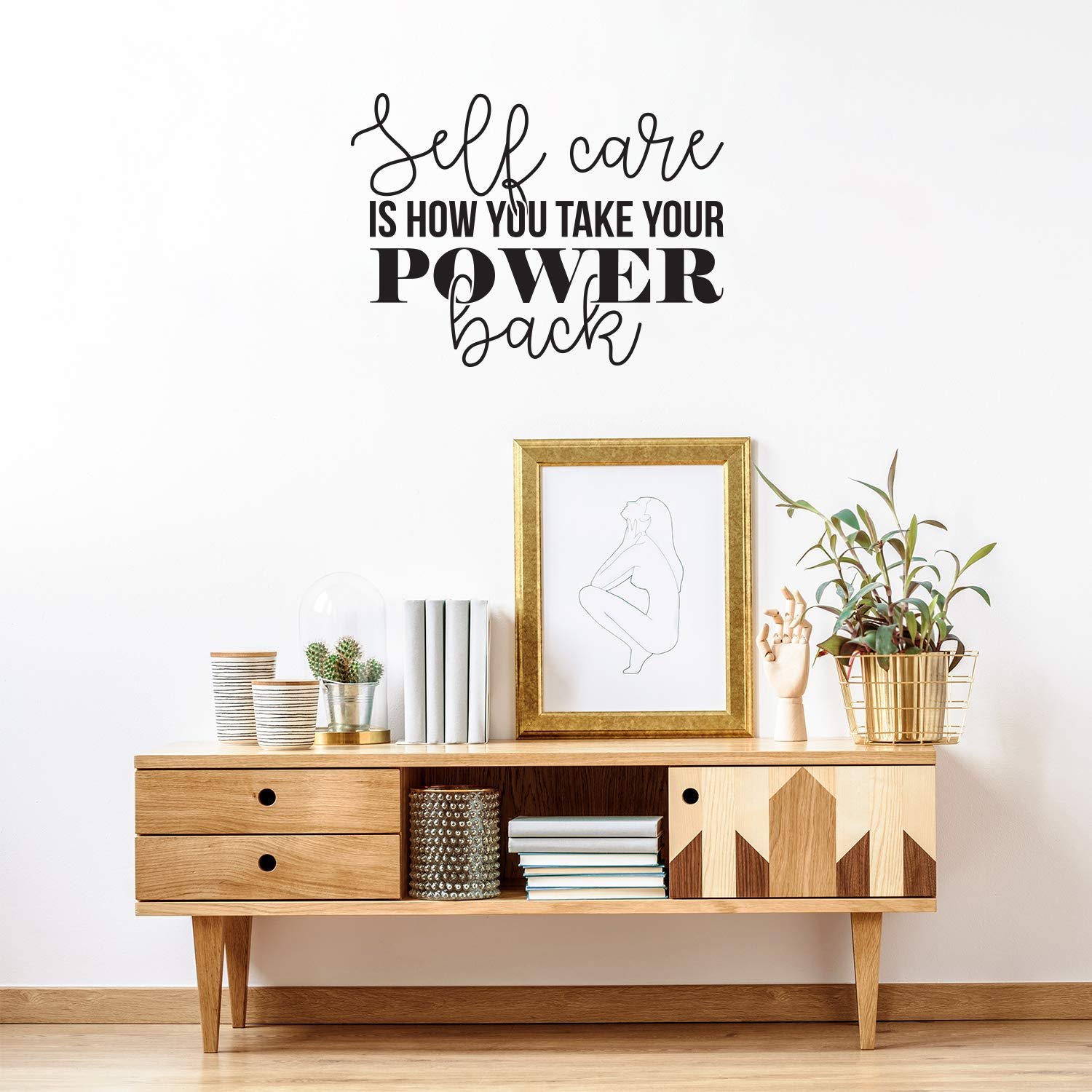"""Vinyl Wall Art Decal - Self Care is How You Take Your Power Back - 22"""" x 30"""" - Modern Inspirational Self Esteem Quote Sticker for Home School Bedroom Work Office Classroom Decor (Black)"""