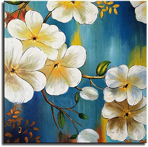Okbonn-32x32inch Elegant Blooming Flowers Oil Paintings on Canvas White and Blue Modern Abstract Floral Wall Art 3D Framed Artwork Ready to Hang for Living Room Bedroom Home Decor