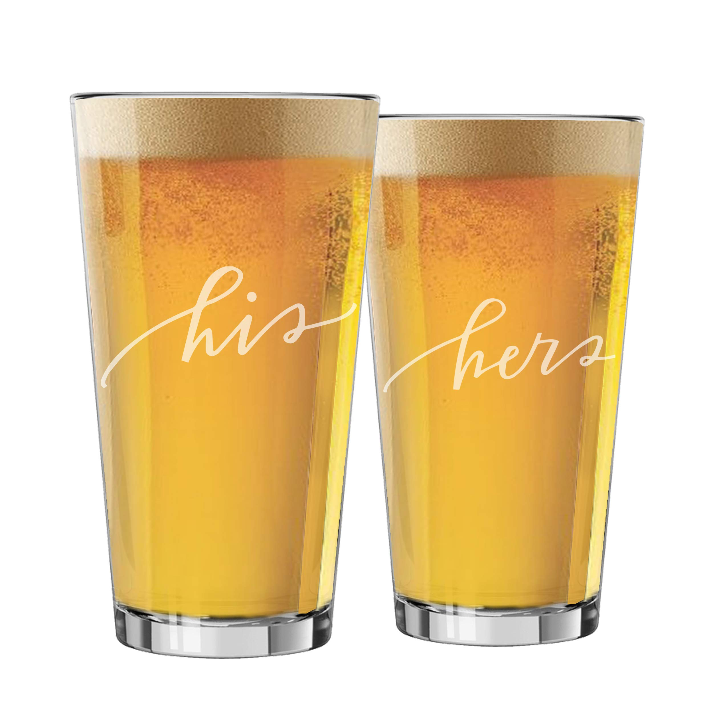 My Personal Memories Mr, Mrs, His, and Hers Beer Pint Glasses Gift Set of 2 for Engagement, Wedding, Anniversary, and Couples (His and Hers Script - 16oz)