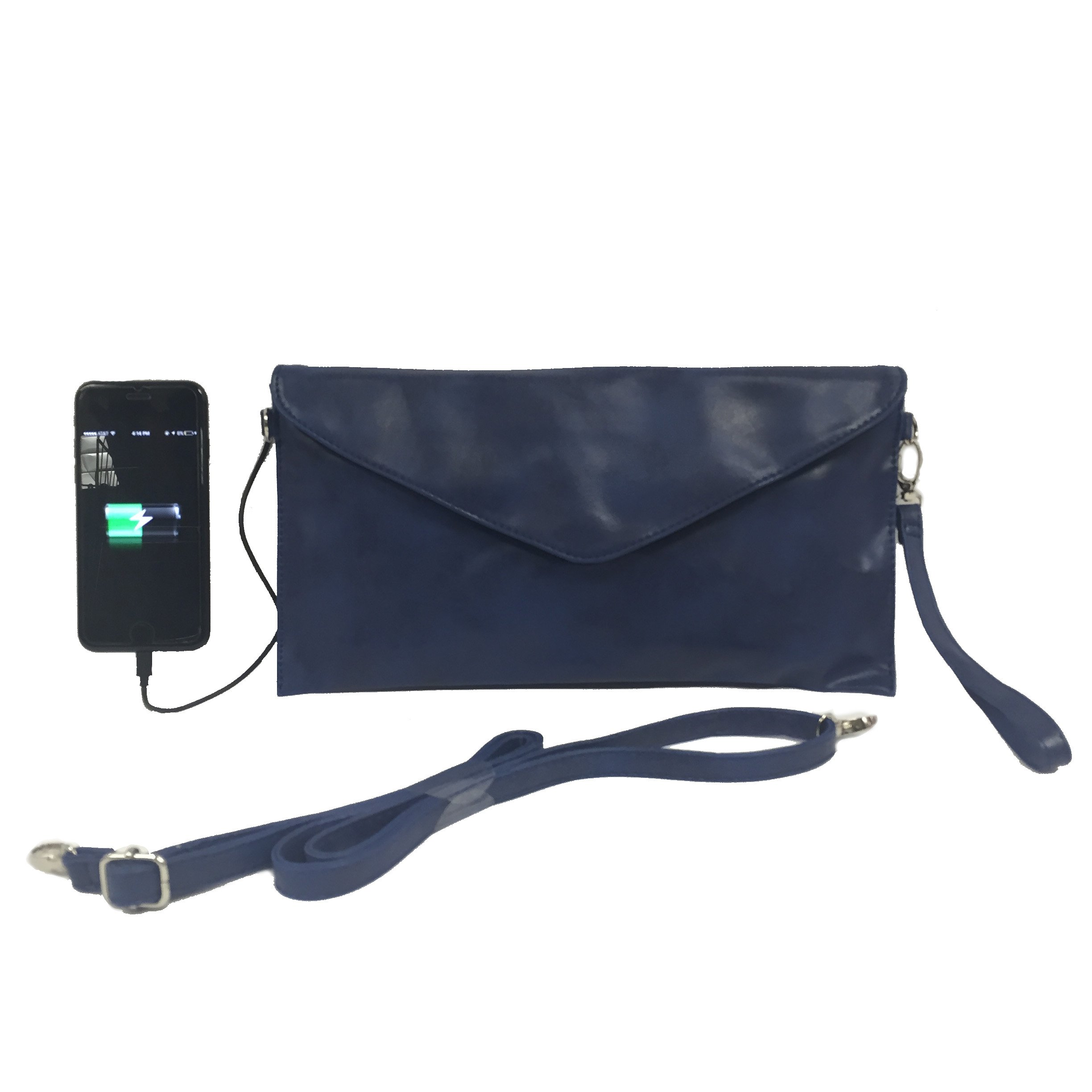 Womens Envelope Charging Clutch bag/Wristlet; compatible with all Phones - 2,600mAh Battery will Give your Phone A Full Recharge - Retro Blue