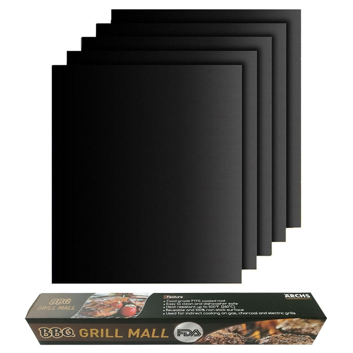 Aerchs Non-stick BBQ Grill Mat made from PTFE oven liner cooking sheet FDA food grade (5 Copper)