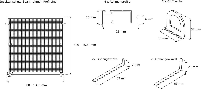 JAROLIFT Profi Line Mosquitera con marco de aluminio para ventana Montaje sin perforaci/ón 130 x 150 cm antracita