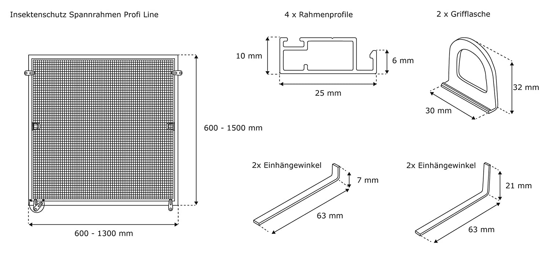 JAROLIFT Insektenschutz Spannrahmen Profi Line für Fenster ...