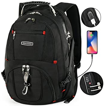 swissgear Christmas USB Charger Men Bags 15.6inch Laptop Backpacks Waterproof