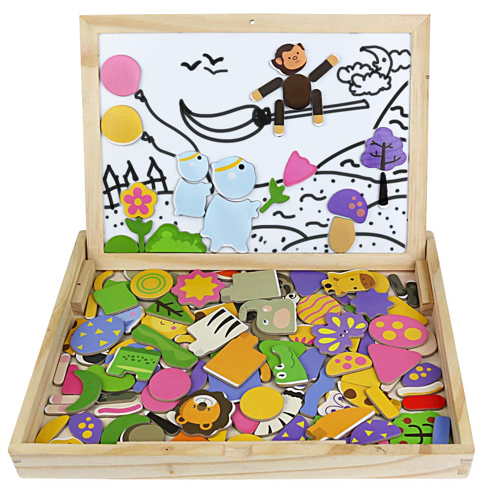 Symiu Wooden Jigsaw Toys Animals 123 Pcs Matching Puzzles Game Gift for Girls Boys Age 3 4 5 6 Years Old to Play HONG LIN .