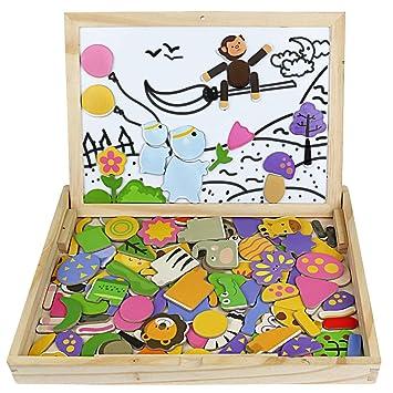 Symiu Rompecabezas Madera Jigsaw Puzzles Infantiles Juguetes de Madera Pizarra Magnética Infantil Animales Planta 123 Piezas para Niños 3 4 5 6