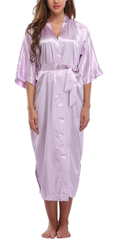 7e0046ec9c WitBuy Women s Silk Robe Long Satin Kimono Robe Lightweight Bathrobe with  Pockets for Bride and Bridesmaids at Amazon Women s Clothing store