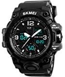 Mens Teenagers Boys Digital Sports Watch Men Analogue Dual Time Military 50M Waterproof Electronic Tough Wrist Watch Big Face Casual Multifunction LED Digital Watch with Stopwatch for Gents ( Black )