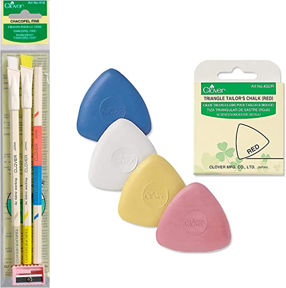 New 4 Pieces Triangular Shape Fabric Pattern Maker Tailors Dressmakers Chalks UK