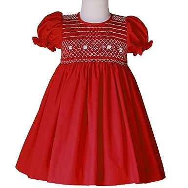 3c0771f71 Amazon.com  Amelia Red Holiday Classic Smocked Girls Dress Vintage ...