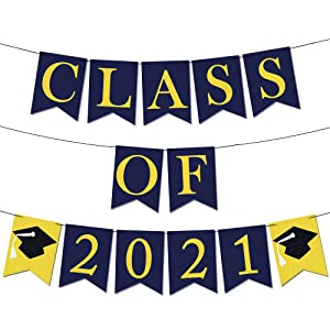 Felt, Class of 2021 Banner for Class of 2021 Decorations - 8.2 Feet, No DIY Required | Blue and Yellow 2021 Graduation Decorations | Graduation Party Supplies 2021 | Congratulations 2021 Blue and Gold
