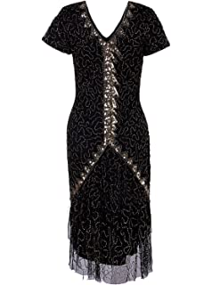 fa755e5c728 Vijiv Vintage 1920s Gatsby Sequin Beaded Lace Cocktail Party Flapper Dress  Sleeves