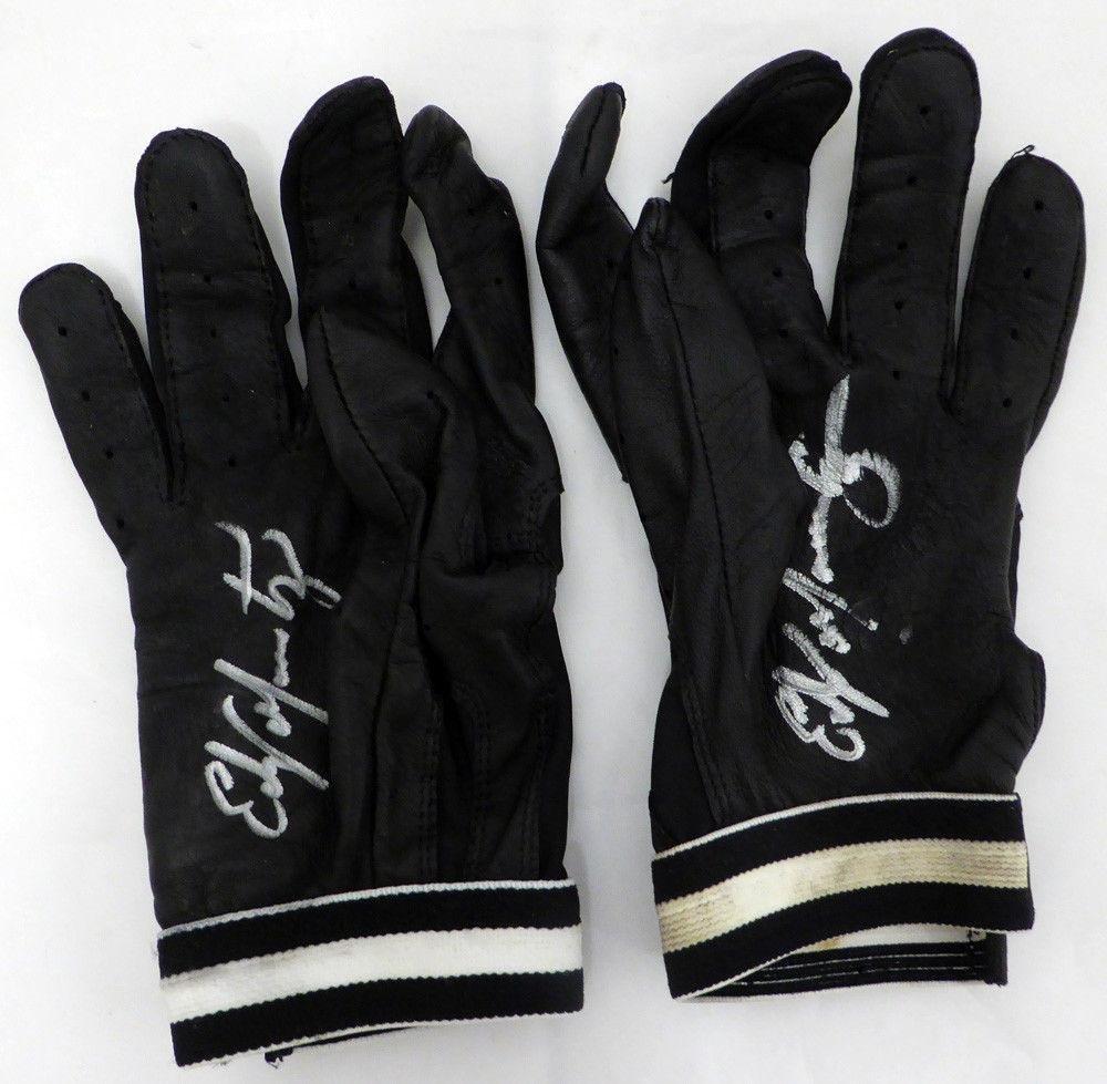 Edgar Martinez Autographed Game Used Franklin Batting Gloves Signed Cert 125283 MLB Game Used Gloves