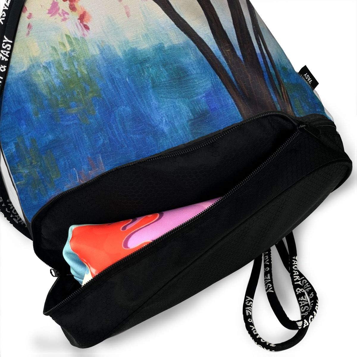 Drawstring Backpack Radiant-branches Bags Knapsack For Hiking
