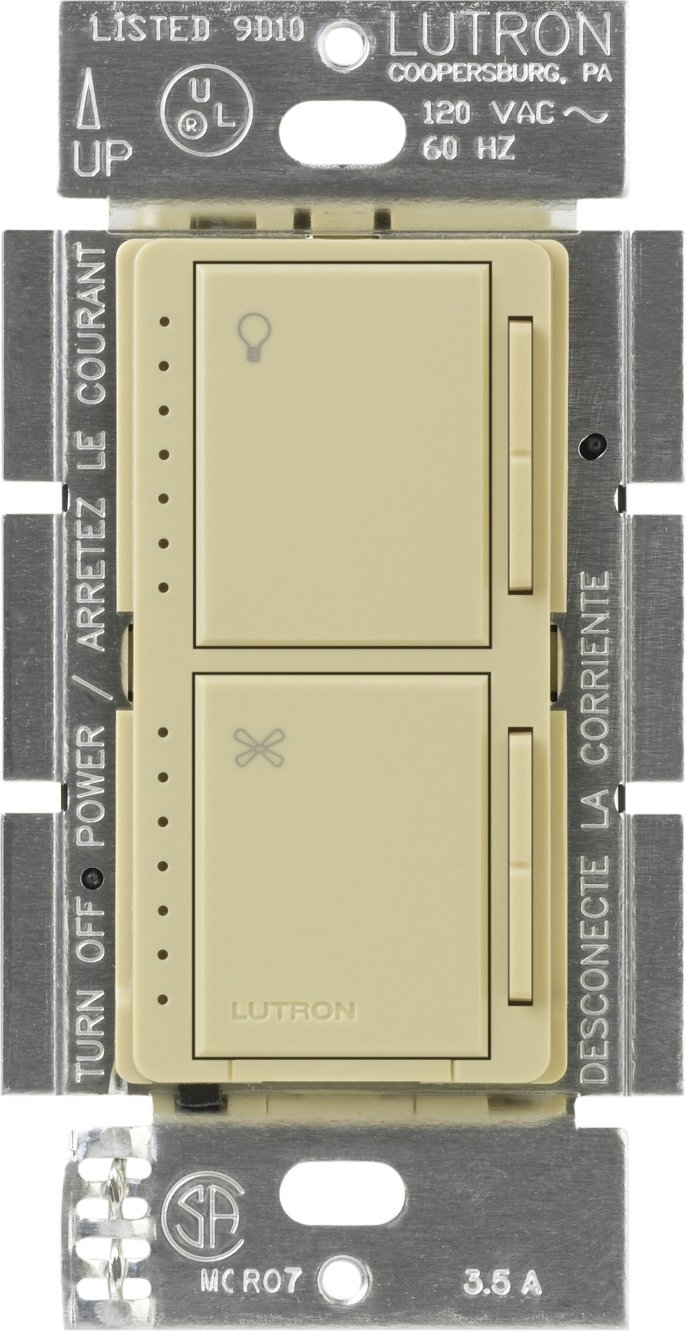 Lutron MA-LFQM-IV Maestro 300-watt Multi-Location 7-Speed Combination Fan and Light Control, Ivory by Lutron (Image #1)